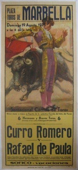 Vintage Plaza Toros Marbella Bullfight Poster