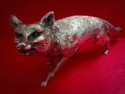 Large Vintage Sterling Silver Fox