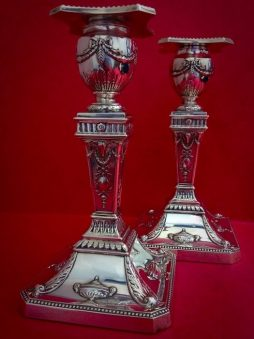 Pair of Antique Sterling Silver Grand Candlestick Holders