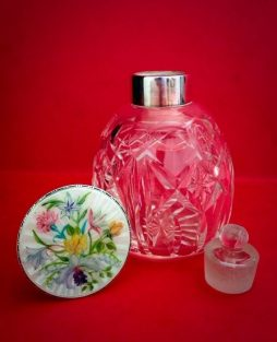 Vintage Sterling Silver Enamel and Glass Colourful Scent Bottle
