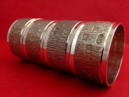 Set of Four Sterling Silver Bark Textured Napkin Rings