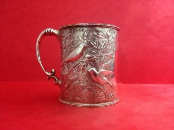 Antique Sterling Silver Christening Mug  Bird and Branches Nature Design