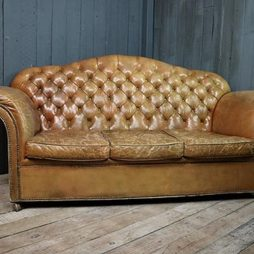 20th Century Leather Button Back Sofa