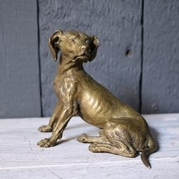 Antique 19th Century Bronze Study of a Hound