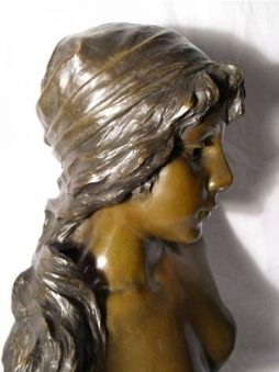 "Antique French Bronze Sculpture Young Lady ""Mignon"""
