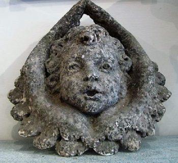 Antique Stone Cherub Fountain Head