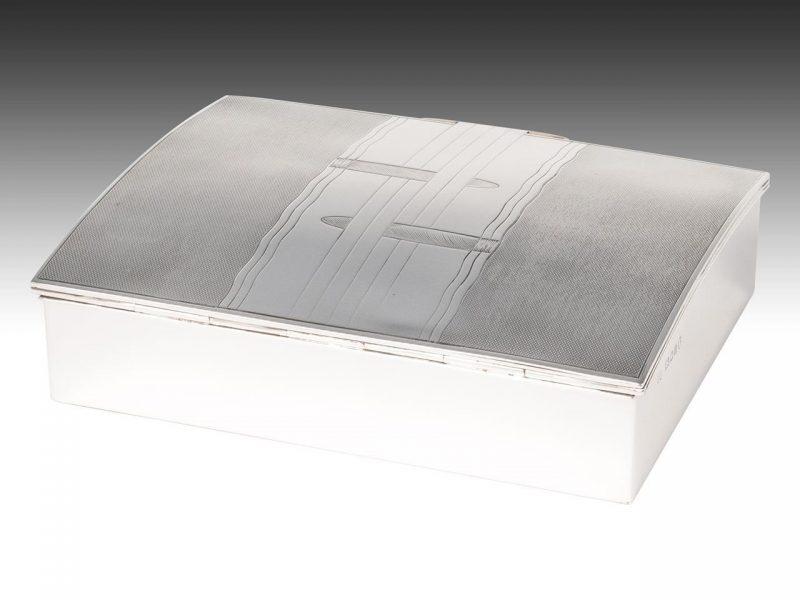 Art Deco Silver Cigar Box Interior Boutiques Antiques