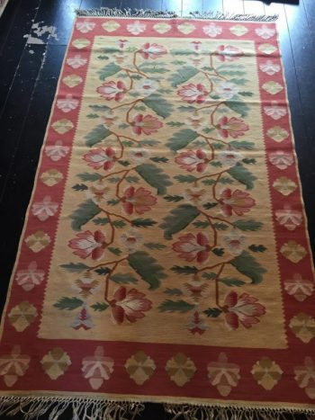 Early 1900's East Europen Basserabian Hand Knotted Flat Weave Rug - POA