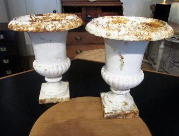 Antique Pair of Cast Iron Urns