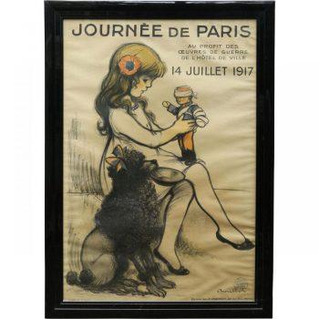 Rare Original Antique World War I Framed Poster from France