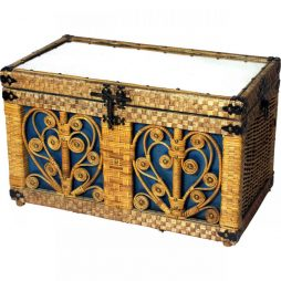 Desirable Vintage Wicker-work Trunk with Mirrored Top