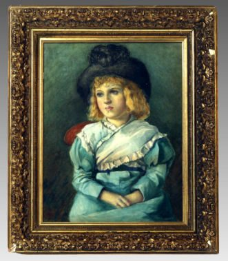 Antique 19th Century Watercolor of Young Boy with Hat