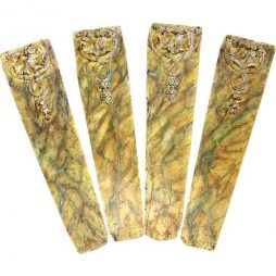 Set of Four Antique Carved Wood Pilasters with Marbling