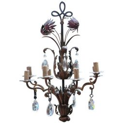 Stunning Italian Chandelier with Baccarat crystal droplets
