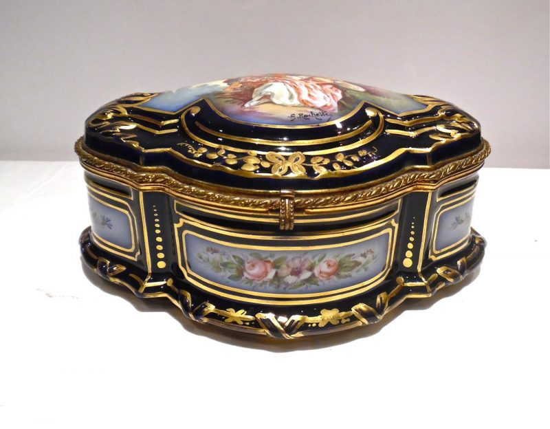Antique French Sevres Porcelain Casket Interior
