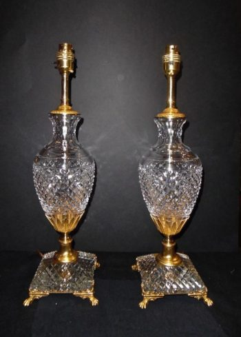Antique Pair of Ormolu Mounted Crystal Lamps