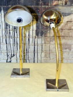 Pair of Retro Polished Industrial Lights - POA