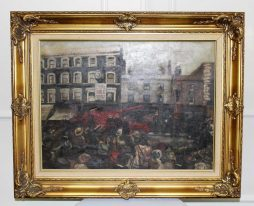 Antique Oil Painting on Canvas of Fire Scene Circa 1900