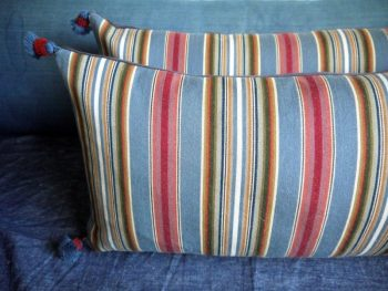 Pair of Early 20th Century Striped Woven Wool Danish Cushions