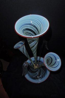 Antique Large Vaseline Glass Epergne