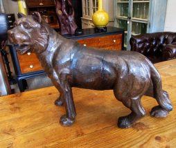 Antique Carved Wood Lion