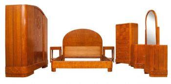 Art Deco Bedroom Suite in a Satin Maple by Merryweather and Son