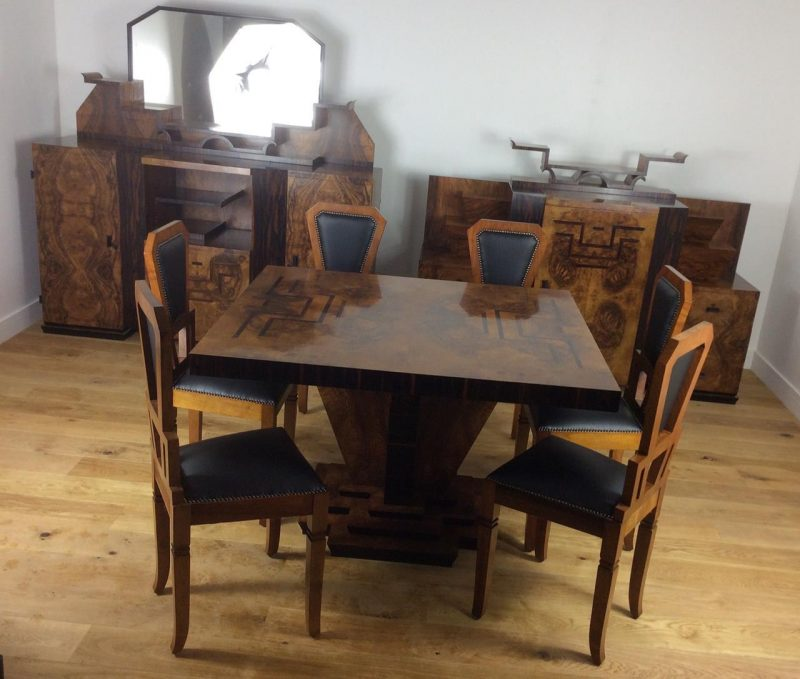 571b5d1d6bb9a Art Deco Dining Suite in Burr Walnut and Macassar by Osvaldo Borsani ...