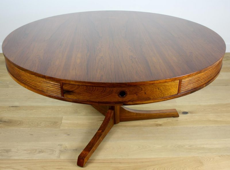 Mid twentieth century modern design rosewood drum table by for French furniture designers 20th century