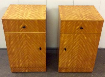 Pair of Art Deco Satin Birch Bedside Cabinets