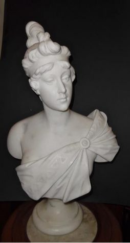 An Antique Italian Marble Bust of a Lady by Antonio Piazza