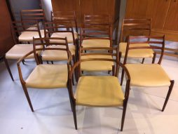 Set of 10 Rosewood Model 78 J.L. Møller Chairs