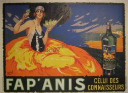 Antique French Advertising Fap'Anis Poster By Artist Delval