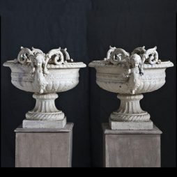 Antique Pair of French Cast Iron Urns