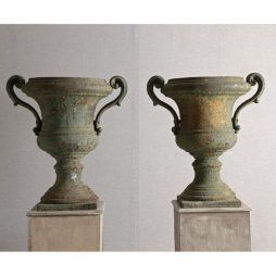 Pair of late Antique 17th Century French Cast Iron Urns