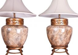 Large Pair of Chinese style Art Deco Lamps