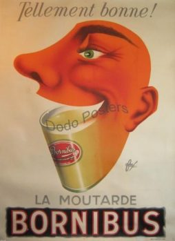 Vintage French Bornibus Moutarde Advertising Poster