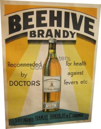 Vintage French 1930s Beehive Brandy Advertising Poster