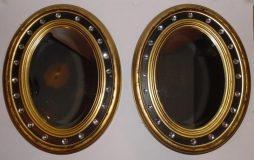 Antique Pair of Irish Style Oval Mirrors