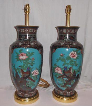 Antique Pair of Japanese Cloisonne Enamel Lamps
