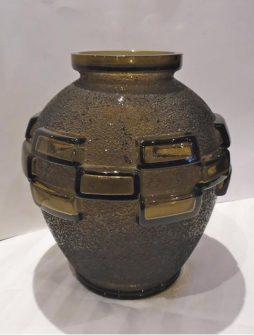 Antique French Art Deco Smoke Glass Vase by Daum
