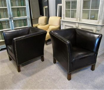 Antique Pair of Swedish Leather Armchairs