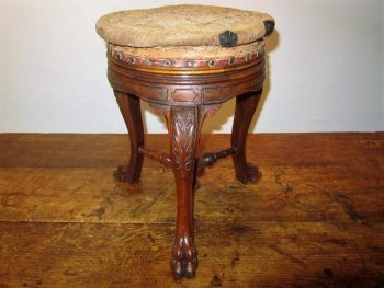 Antique 19th Century Walnut Tripod Stool