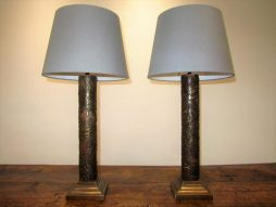 Antique Pair of Printing Block Lamps