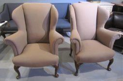 Antique Pair of Walnut Wing Armchairs