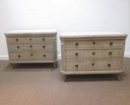 Antique Pair of Swedish Painted Pine Commodes