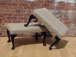 Pair Vintage Reupholstered Foot Stools