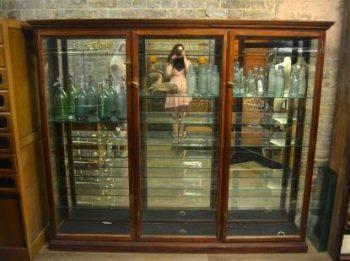Large Antique 1920s Mahogany Shop Display Cabinet