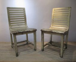 A Pair of Antique French Slatted Side Chairs