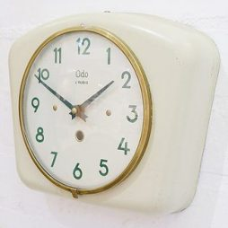 261-1930's French Metal Cased Wall Clock