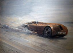Bryan De Grineau The Land Speed Record Gouache, signed, dated 1927